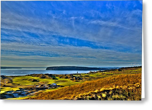 Us Open Greeting Cards - The Scenic Chambers Bay Golf Course II - Location Of The 2015 U.s. Open Tournament Greeting Card by David Patterson