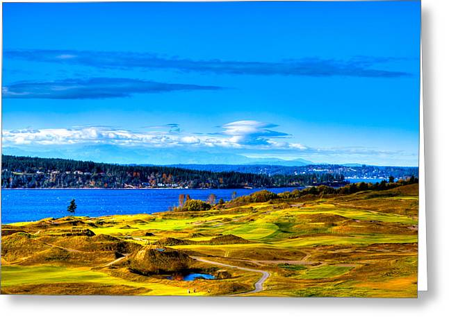 Chambers Bay Golf Course Greeting Cards - The Scenic Chambers Bay Golf Course IV - Location of the 2015 U.S. Open Tournament Greeting Card by David Patterson