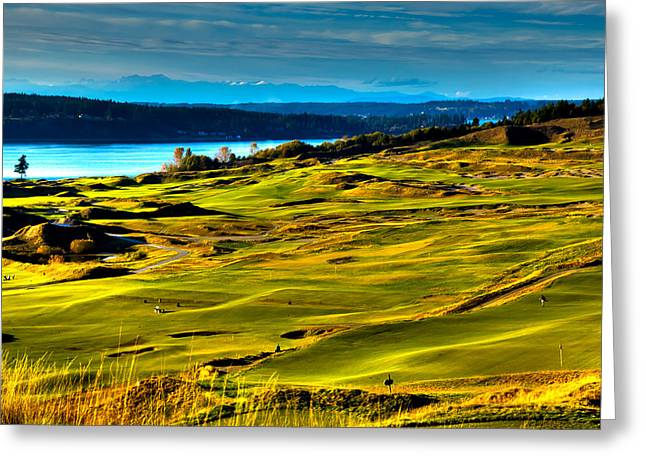 Chambers Bay Golf Course Greeting Cards - The Scenic Chambers Bay Golf Course - Location of the 2015 U.S. Open Tournament Greeting Card by David Patterson