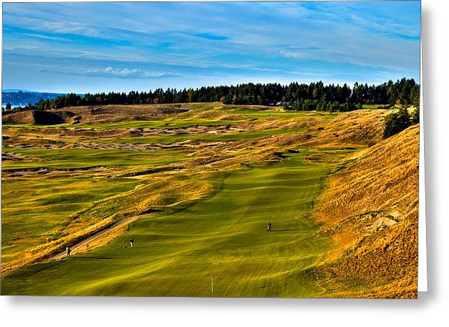 Us Open Greeting Cards - The Scenic Chambers Bay Golf Course V - Location of the 2015 U.S. Open Tournament Greeting Card by David Patterson