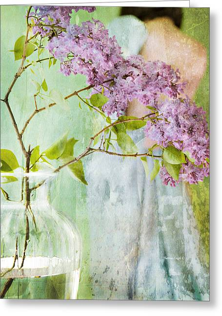 The Scent Of Lilacs Greeting Card by Theresa Tahara