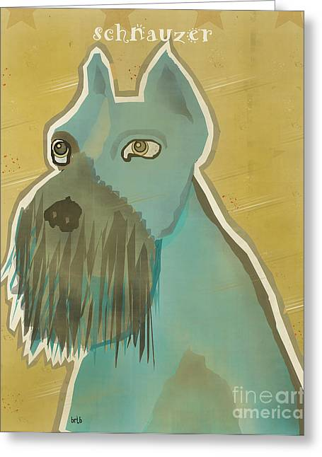 Spaniel Digital Art Greeting Cards - The Schnauzer  Greeting Card by Bri Buckley