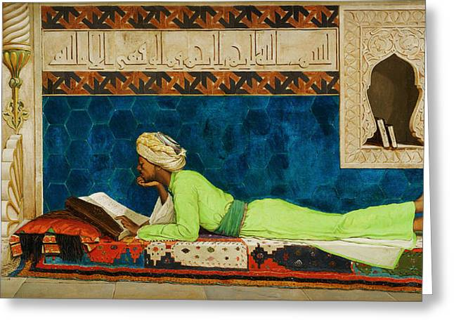 Bey Greeting Cards - The Scholar Greeting Card by Osman Hamdi Bey