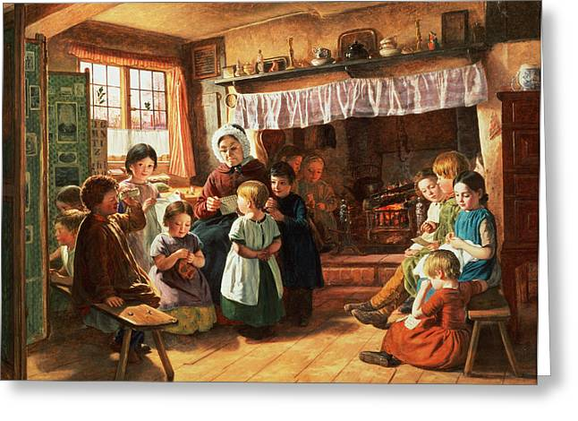 Schoolroom Greeting Cards - The School Room Greeting Card by Alfred Rankley