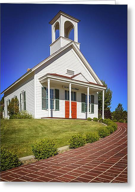 Red School House Greeting Cards - The Schoolhouse Greeting Card by LeeAnn McLaneGoetz McLaneGoetzStudioLLCcom