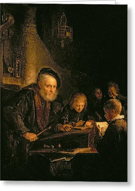 Desk Greeting Cards - The Schoolmaster, 1645 Greeting Card by Gerrit or Gerard Dou