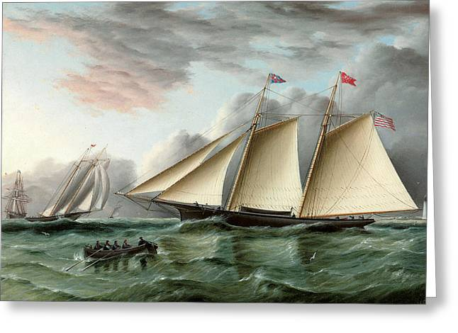 Schooner Paintings Greeting Cards - The Schooner Mohawk off Sandy Hood Lighthouse Greeting Card by James E Buttersworth