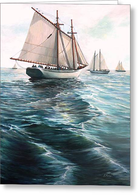 Sailboat Ocean Greeting Cards - The Schooners Greeting Card by Eileen Patten Oliver