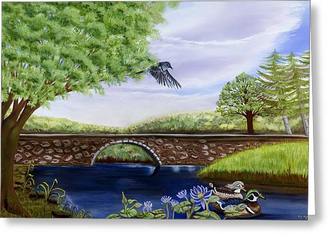 Print On Canvas Greeting Cards - The Schuykill River Greeting Card by Susan Culver