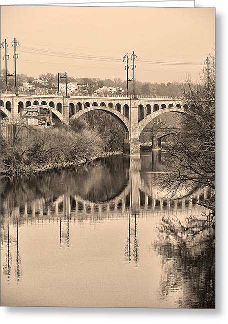 Schuylkill Digital Art Greeting Cards - The Schuylkill River and manayunk Bridge in Sepia Greeting Card by Bill Cannon