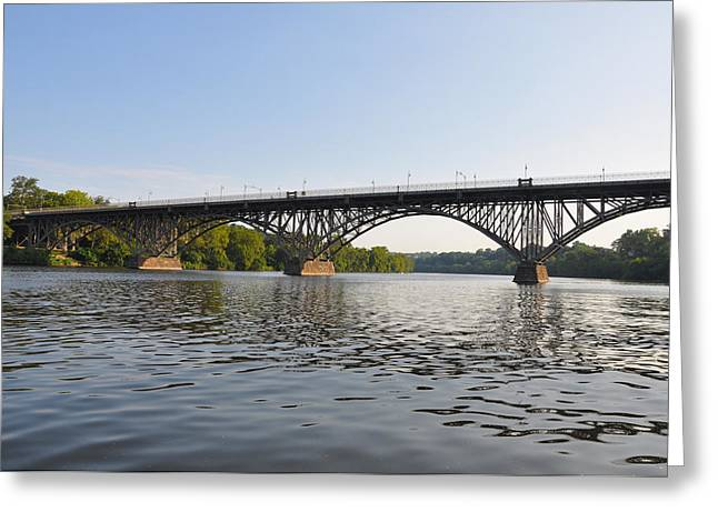 The Schuylkill River and Strawbery Mansion Bridge Greeting Card by Bill Cannon