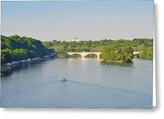 Rowing Crew Greeting Cards - The Schuylkill River - Dag Vail Regatta Greeting Card by Bill Cannon