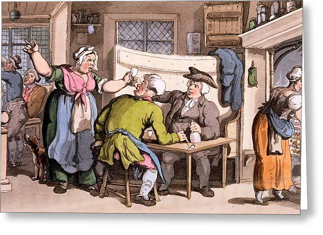 Hearths Greeting Cards - The Scold, With News Of Olivia Greeting Card by Thomas Rowlandson