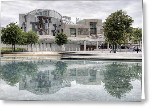 Devolve Greeting Cards - The Scottish Parliament Greeting Card by Ross G Strachan