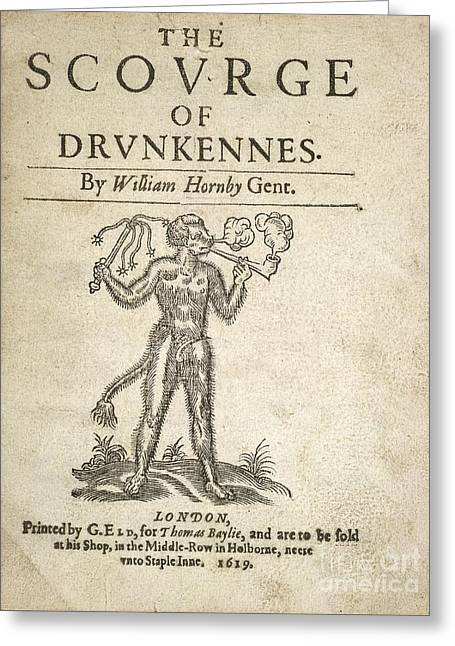 Smoking Book Greeting Cards - The Scourge Of Drunkennes (1619) Greeting Card by British Library