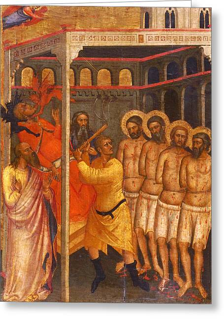 Martyr Greeting Cards - The Scourging of the Four Crowned Martyrs Greeting Card by Niccolo di Pietro Gerini