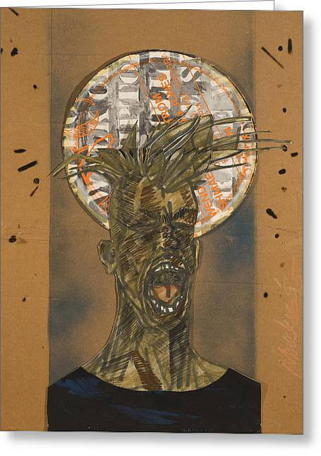 African-american Mixed Media Greeting Cards - The Scream Greeting Card by Deryl Daniel Mackie