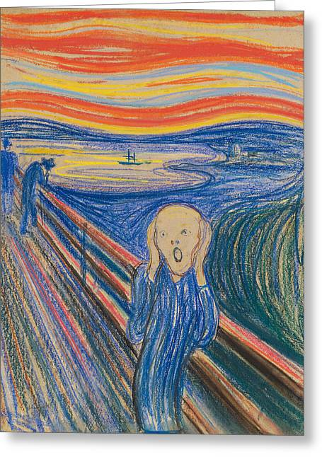 Surprise Pastels Greeting Cards - The Scream Greeting Card by Edvard Munch