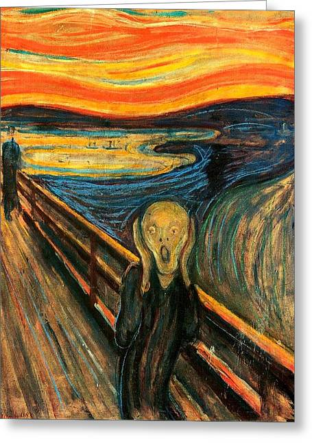 Cardboard Greeting Cards - The Scream Edvard Munch 1893                    Greeting Card by Movie Poster Prints