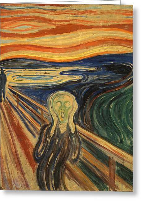 Cardboard Greeting Cards - The Scream Edvard Munch 1910 Greeting Card by Movie Poster Prints