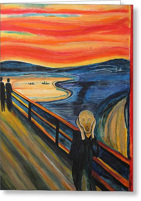 The Scream Greeting Card by Nirdesha Munasinghe