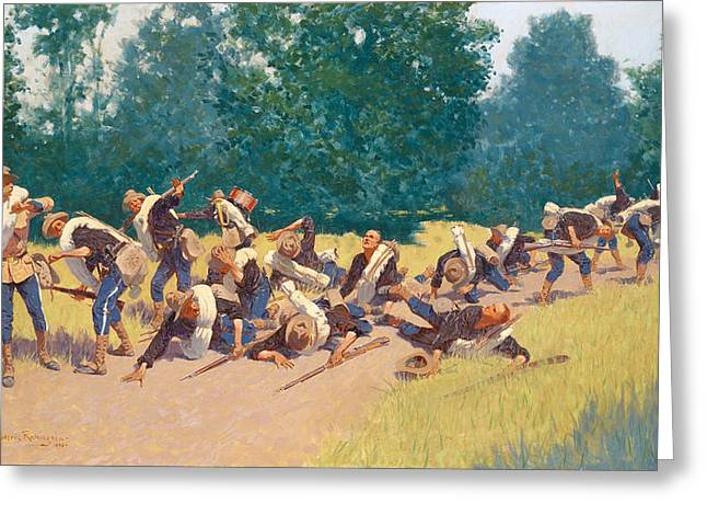 Remington Greeting Cards - The Scream of Shrapnel at San Juan Hill Greeting Card by Frederic Remington