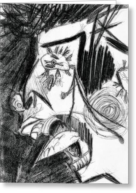 Graphite Digital Greeting Cards - The Scream - Picasso Study Greeting Card by Michelle Calkins