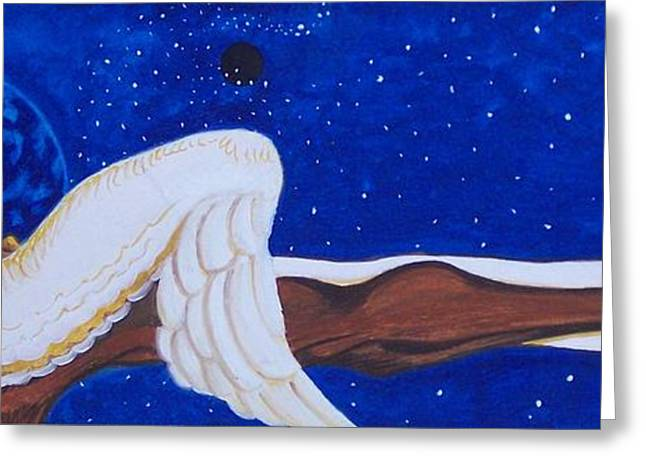 Cloth Greeting Cards - The Scroll-Angel Greeting Card by Alma  Lee -A Lee- Smith
