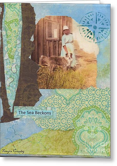 Collie Mixed Media Greeting Cards - The Sea Beckons Greeting Card by Tamyra Crossley