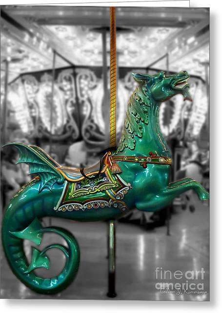 Fantasy Creatures Greeting Cards - The Sea Dragon - Carousel Greeting Card by Colleen Kammerer