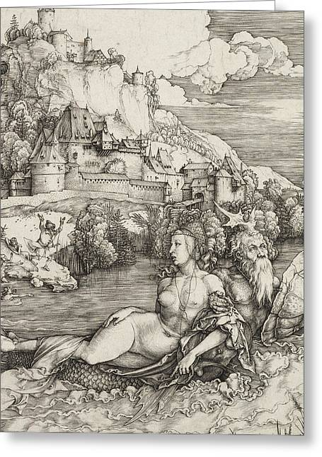 Abduction Greeting Cards - The Sea Monster Greeting Card by Albrecht Durer or Duerer