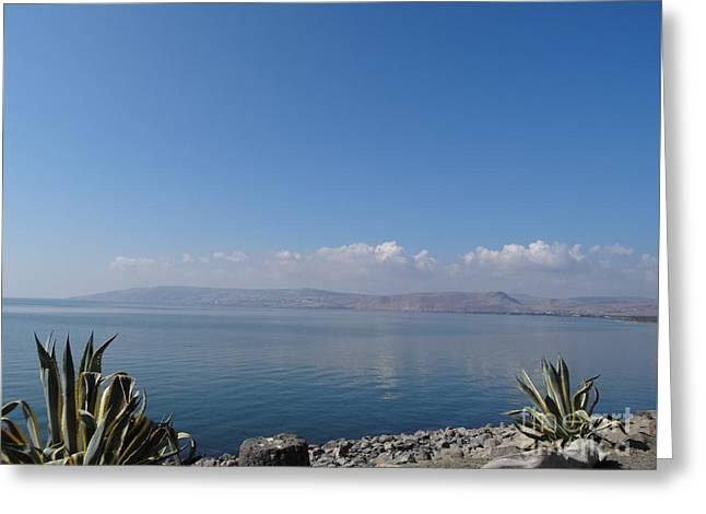 The Sea Of Galilee At Capernaum Greeting Card by Karen Jane Jones