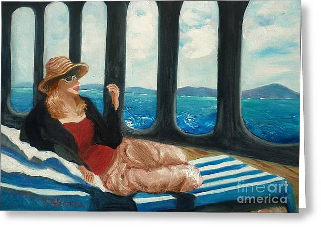 Daybed Greeting Cards - The Sea Princess - original SOLD Greeting Card by Therese Alcorn