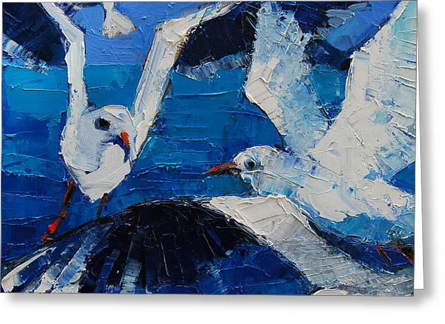 Composition Greeting Cards - The Seagulls Greeting Card by Mona Edulesco