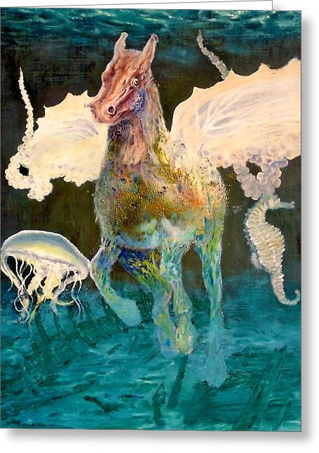 Anchor Underwater Greeting Cards - The Seahorse Greeting Card by Henryk Gorecki