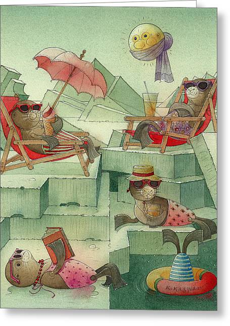 Winter Night Drawings Greeting Cards - The Seal Beach Greeting Card by Kestutis Kasparavicius
