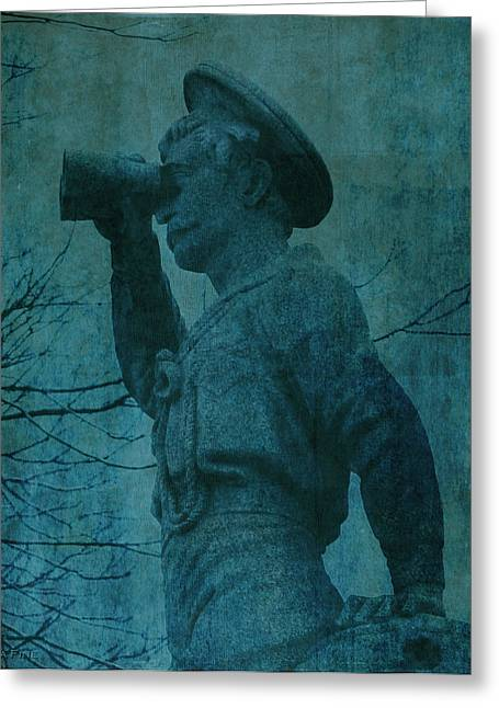 Confederate Monument Greeting Cards - The Seaman in Teal  Greeting Card by Lesa Fine