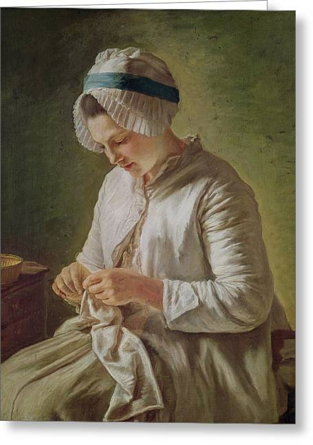 Repaired Greeting Cards - The Seamstress Or, Young Woman Working Oil On Canvas Greeting Card by Francoise Duparc