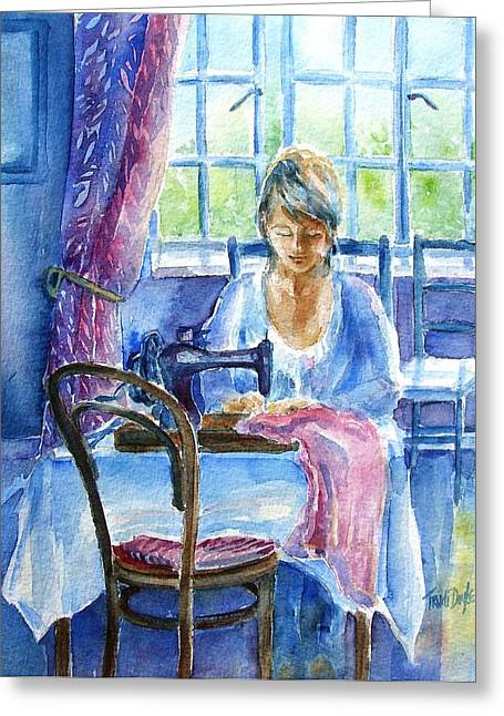 At Work Greeting Cards - The Seamstress Greeting Card by Trudi Doyle