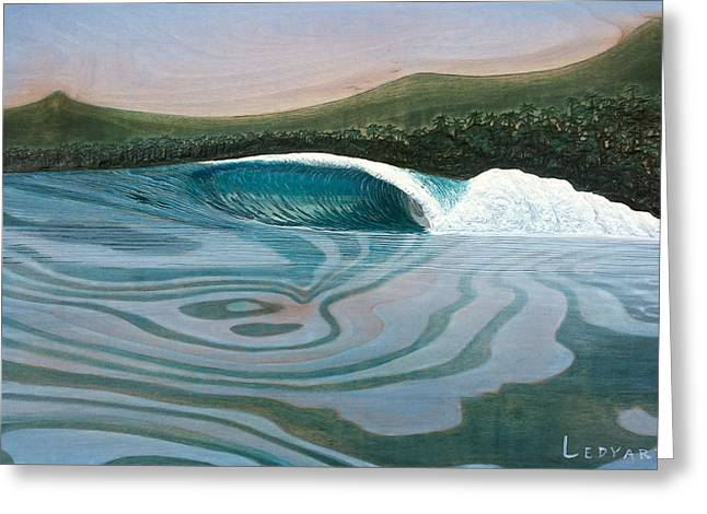 Surfing Art Reliefs Greeting Cards - The Search Greeting Card by Nathan Ledyard