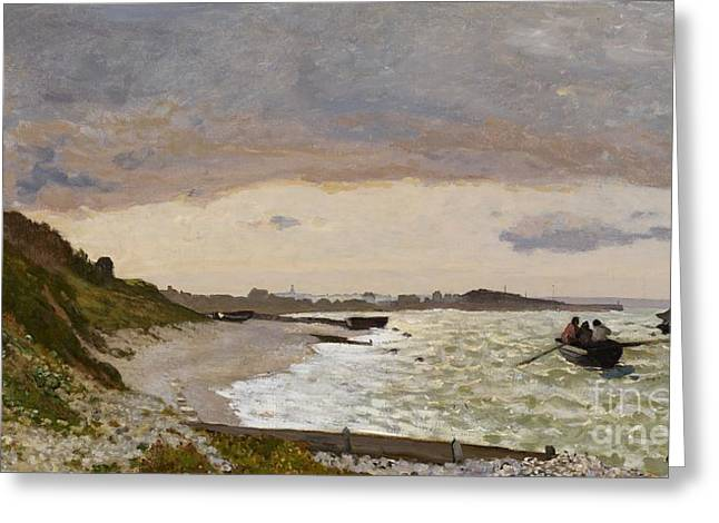 Sea Shore Greeting Cards - The Seashore at Sainte Adresse Greeting Card by Claude Monet