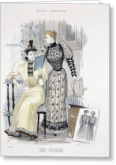Veiled Drawings Greeting Cards - The Season, Fashion Plate For The Greeting Card by English School