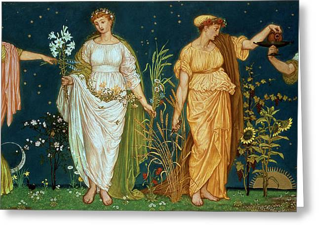 Pre-raphaelites Photographs Greeting Cards - The Seasons Greeting Card by Walter Crane