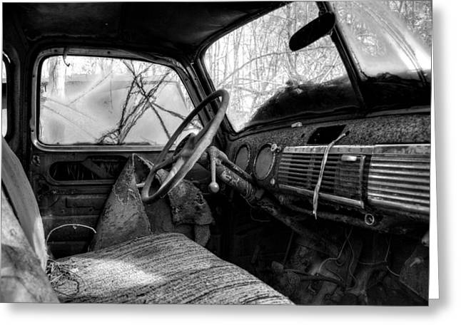 Old Trucks Greeting Cards - The Seat Of An Old Truck in Black and White Greeting Card by Greg Mimbs