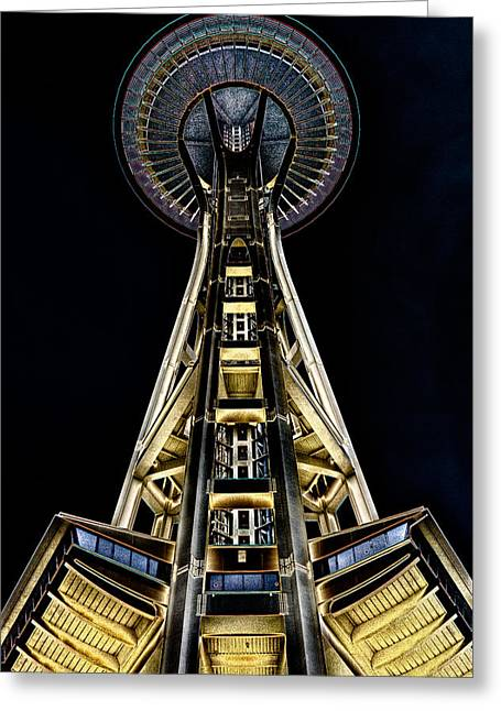Seattle Center Greeting Cards - The Seattle Space Needle Greeting Card by David Patterson