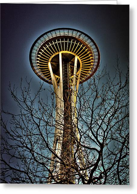 Seattle Landmarks Greeting Cards - The Seattle Space Needle IV Greeting Card by David Patterson