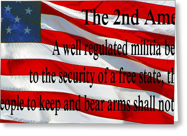 Enhanced Greeting Cards - The Second Amendment Greeting Card by Barbara Snyder