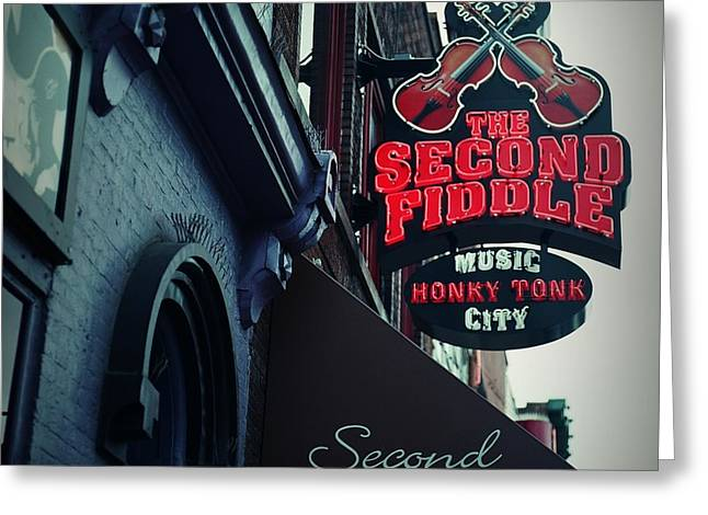 Nashville Downtown Greeting Cards - The Second Fiddle Greeting Card by Linda Unger