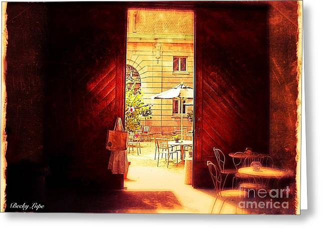 The Secret Courtyard  Greeting Card by Becky Lupe