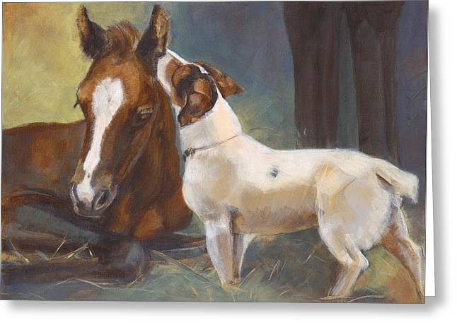 Puppies Paintings Greeting Cards - The Secret Greeting Card by Dell Eddins
